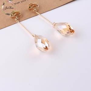 Fashion New Arrival Women Trendy Long crystal Clip On Earrings Without Piercing Women Earring for Chrismas Birthday gift
