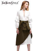 TWOTWINSTYLE Sexy Party Dresses Women's Suit Shirt Long Dress Female Lace up Wrap Two Piece Set Large Sizes Female Clothes