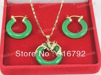Wholesale free shipping >>>>>Pretty Green stone Circle Carved Dragon Pendants Necklace Earring Set