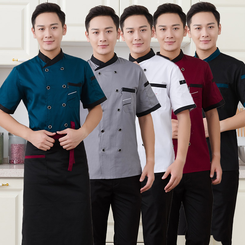 Chef Uniform Man Summer Short-sleeved Chef Service Jacket Hotel Restaurant Waiters Work Clothes Tooling Pastry Cook Tops