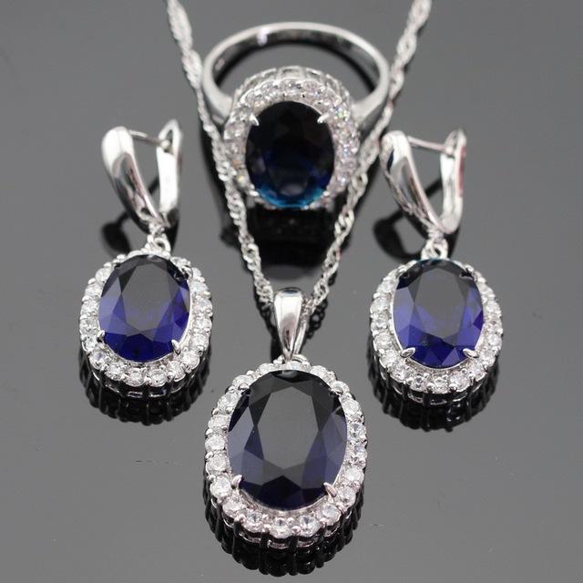 Branco CZ Azul Criado Sapphire Cor Prata Conjunto de Jóias Colar/Pingente/Anel Brinco Para As Mulheres de Natal Dom Gratuito caixa