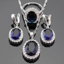 Blanco CZ Azul Creado Sapphire Color Plata de La Joyería Set Collar/Pendiente/Anillo Del Pendiente Para Las Mujeres Regalo de Navidad caja