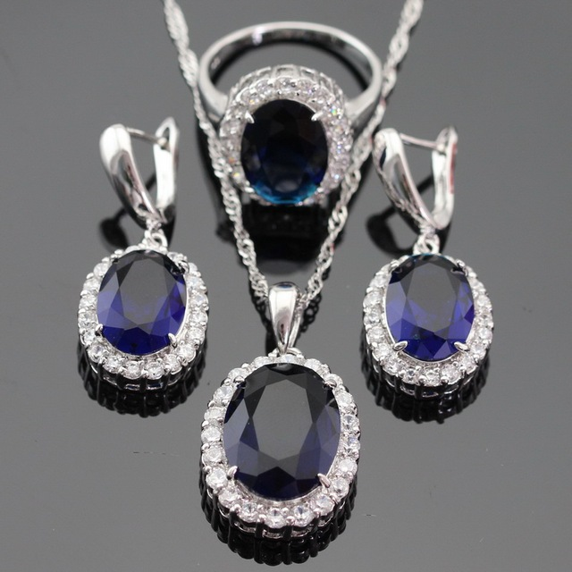 White CZ Blue Created Sapphire Silver Color Jewelry Set Necklace/Pendant/Ring Earring For Women Christmas Free Gift Box
