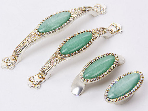 2.5 3.75 5 Shabby Chic Dresser Drawer Pulls Knobs Handles Kitchen Cabinet Furniture Handle Antique Silver Turquoise Green pewter elephant head antique silver drawer knobs kitchen cabinet door animal handles dresser pulls for home decor