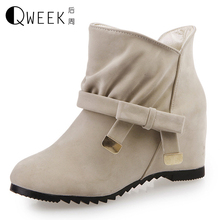 QWEEK Women Boots Casual Ankle Boots Height Increase Breathable Fashion Bowknot Spring/autumn Rubber Wedges Warm Shoes