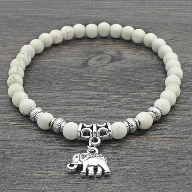 New Mode Style White 6mm Nature Stone Beads Elephant Bracelets For Women Vintage Tibet Silver Color Bracelets Bangles Jewelry
