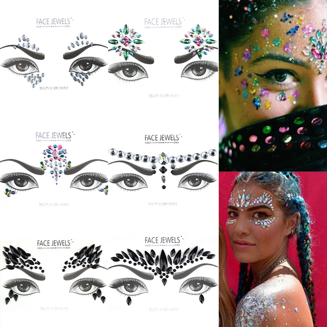 1 PC Face Jewels Make Up Adhesive Face Jewels Gems Temporary TattooFestival Party  Body Gems Rhinestone 5f2d39797b3a
