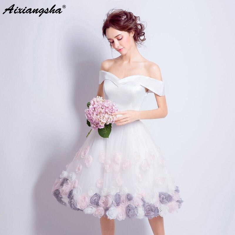 53f5745deef Белое короткое платье для выпускного вечера es 2018 Тюль Цветы рукава совок вырез  лодочкой vestido de