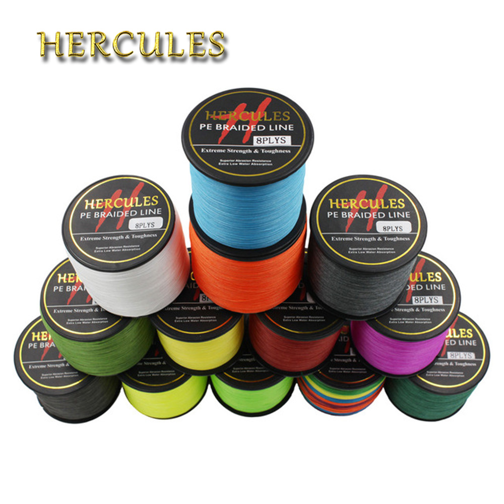 Hercules 8 Strands 1000M PE Braided Fishing Line tresse peche Saltwater Fishing Weave Superior Extreme Super Strong 10LB to 80LB free shipping 1000m piece 1000lb uhmwpe fiber braid spear fishing line flat version 2mm 8 weave super strong