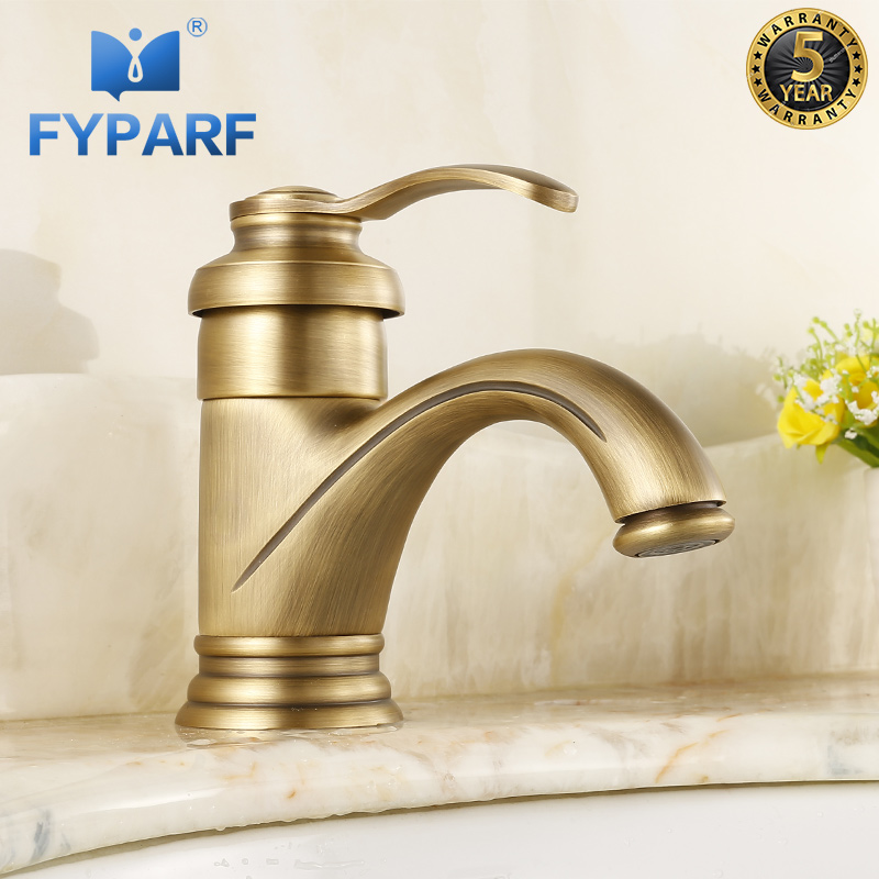 FYPARF Bathroom Basin Faucets Single Holes Basin Mixer Taps Hot Cold Water Vintage Brass Faucet Tapware Water Crane torneira