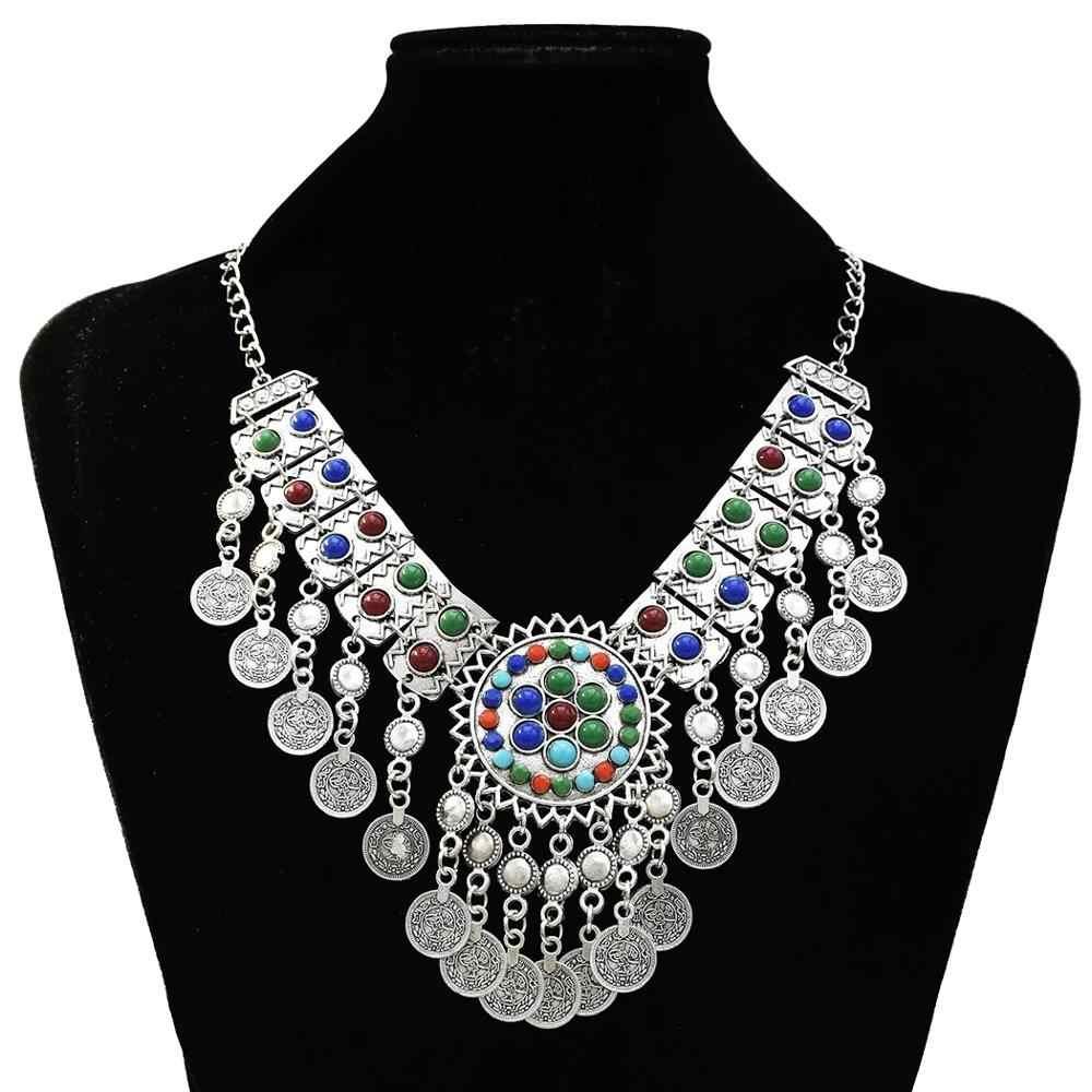 Boho Gypsy Tribal Silver Tassel Bib Statement Jhumka India Jewelry Sets Women Multicolors Enamel Choker Necklace Earrings Set