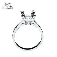 HELON 925 sterling silver pierścień okrągły Cut 8mm elegancki ślub zaręczyny Semi Mount pierścień kobiety Trendy Fine biżuteria darmowa wysyłka