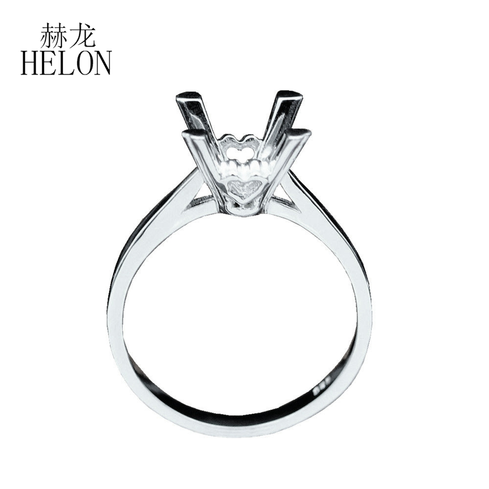 HELON 925 sterling silver ring round Cut 8mm elegant wedding engagement Semi Mount Ring Women Trendy Fine jewelry Free ShippingHELON 925 sterling silver ring round Cut 8mm elegant wedding engagement Semi Mount Ring Women Trendy Fine jewelry Free Shipping
