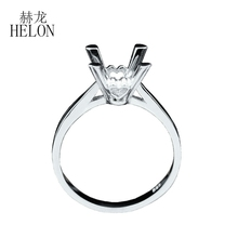 HELON 925 sterling silver ring round Cut 8mm elegant wedding engagement Semi Mount Ring Women Trendy Fine jewelry Free Shipping