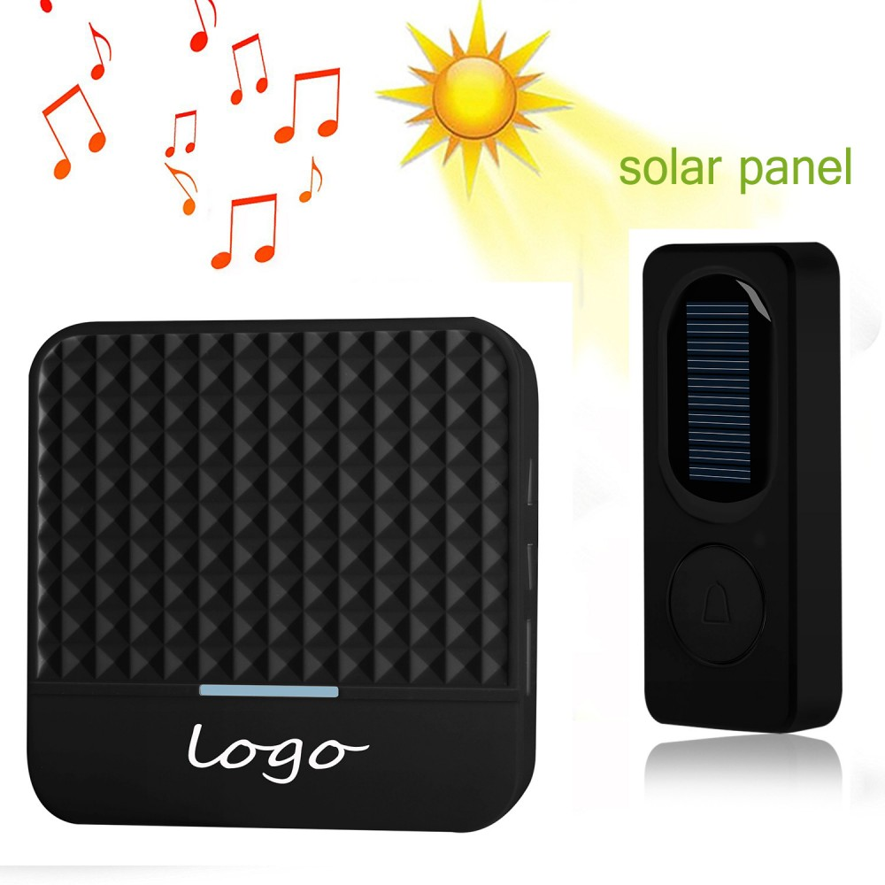 1pcs Of Outdoor Solar Charging Transmitter Plus 1pcs Of Smart Home Wireless 433Mhz Long Range Doorbell With 52Chimes Black Color