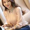 2016 nova coreano moda lady manga comprida lace chiffon camisa tamanho s-2xl peter pan colarinho lanterna manga mulheres blusa LTMC328
