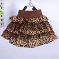 Kid Girl Korean Tutu Ruffle Leopard Princess Velvet Pleated Skirts