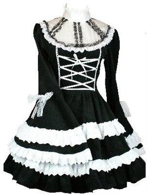 (LLT042) Lolita robes gothique lolita robe luxuriant palace noble grande trompette manches robe noir et blanc le spot