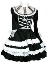 (LLT042) Lolita Dresses gothic lolita dress luxuriant palace noble big trumpet sleeve dress black and white The spot