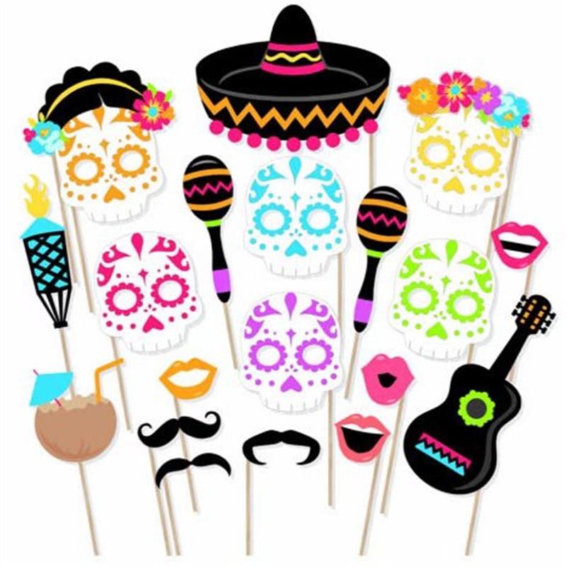 21 шт./компл. Мексиканская маска фото реквизит день Хэллоуина цветной череп голова Счастливая Хэллоуин Вечеринка искусственная вечевечерни...