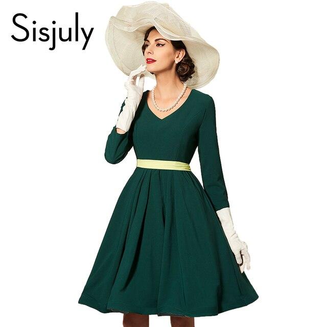 Sisjuly женщины party dress элегантный зеленый осень dress длинным рукавом v шеи стиль женщины платья мода зима феста dress new год