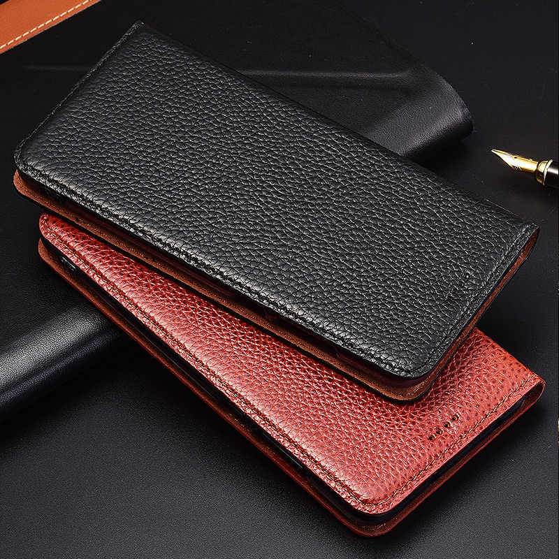 Flip Stand Litchi Genuine Leather Case For Xiaomi Redmi Note 3 4 4X 5 5A 6 7 8 8T Pro 8A Cover Mobile Phone Case