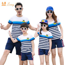 hot deal buy family clothing fashion striped t shirt shorts set mother daughter clothes family matching outfits father son clothes set