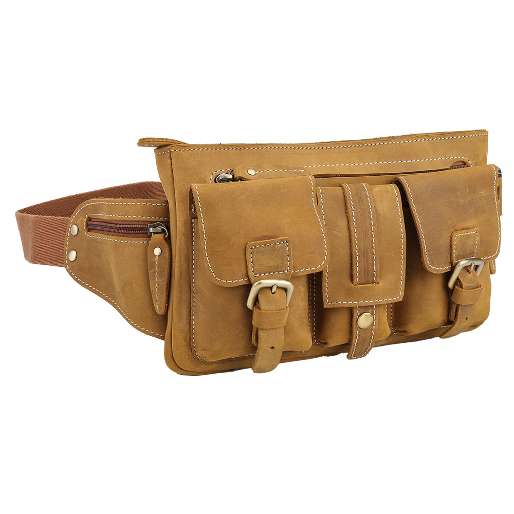 TIDING waist bag for men genuine leather purse bag cell phone wallet holder for traveling 3033R genuine sepai b605rd multifunction universal nylon waist bag for camera cell phone black blue