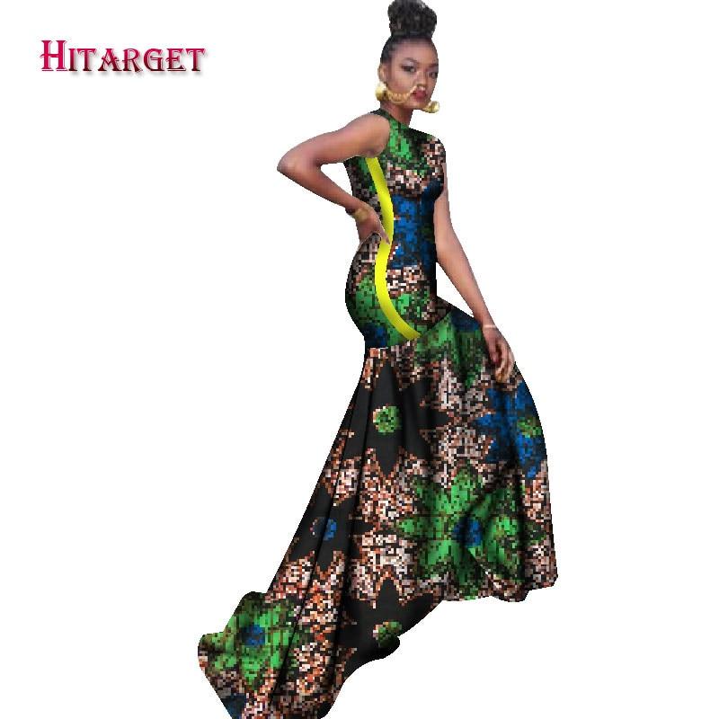 2018 robes africaines pour femmes bazin riche style femme vêtements africains gracieuse dame impression cire grande taille fête longue robe WY1211 - 4
