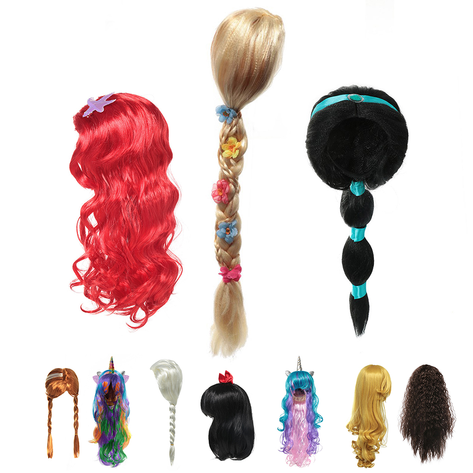 Kids Girl Cosplay Wig Princess Rapunzel Elsa Anna Jasmine Ariel Aurora Merida Belle Moana Snow White Hair Braid Wigs For Party
