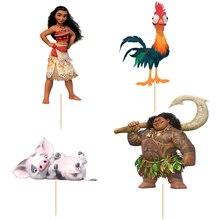 72pcs Cartoon Moana Princess Maui cupcake topper picks Kids birthday party decoration Cake