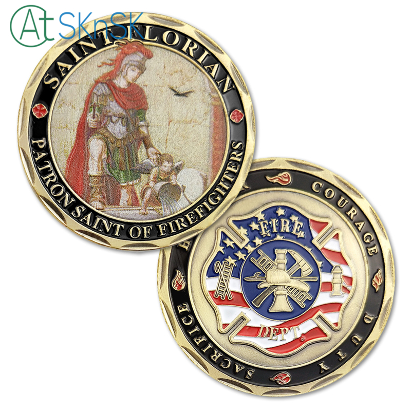 AtsknSK 5ks / lot USA Challenge Coins Sain Florian Firefighter Souvenir Coins Antique Bronzed Plated Crafts as Suvenir Gift