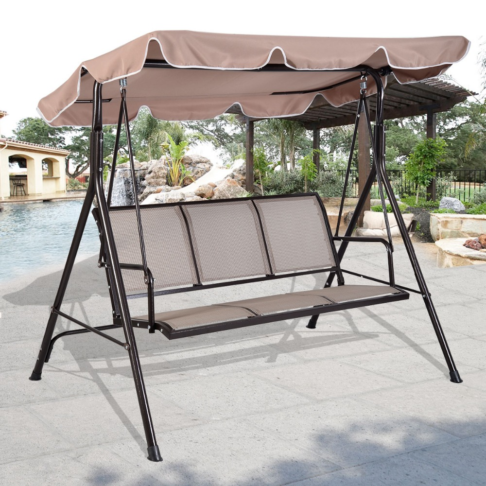 PROMOTION SWINGING 3 SEATER GARDEN HAMMOCK SWING RELAX SEAT OUTDOOR BENCH CHAIR PATIO FREE SHIPPING OP2575-in Patio Swings from Furniture on Aliexpress.com ... : 3 seater garden swings with canopy - memphite.com