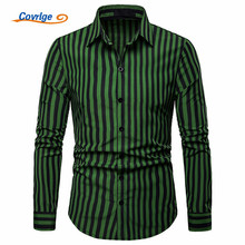 Covrlge Male Striped Without Pocket Men Clothes Slim Fit Long Sleeve Shirt Casual Social Plus Size MCL209