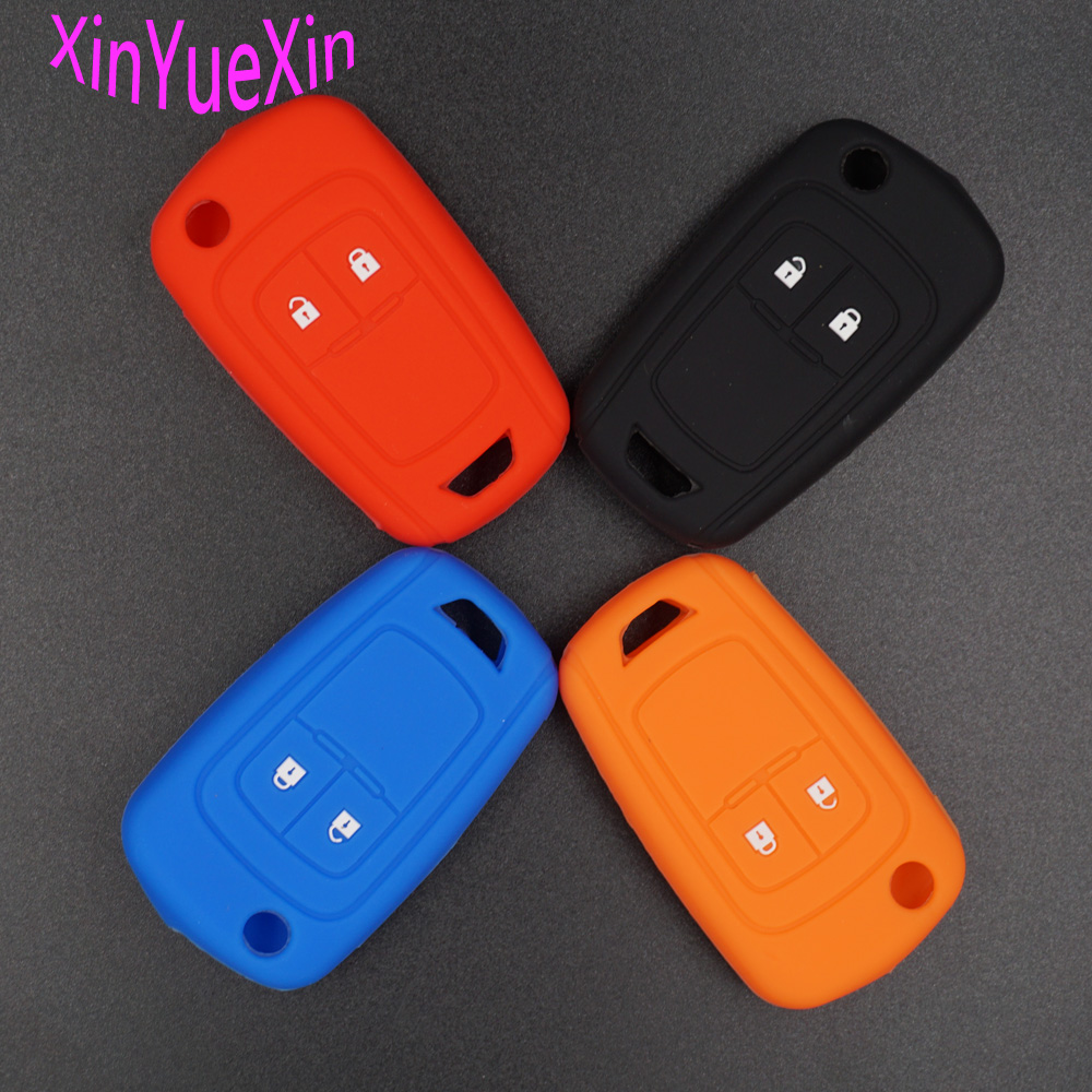Xinyuexin Silicone Car Key Cover FOB Case For Chevrolet Cruze 2Button Flip Remote Key Case Jacket Keychain Car-styling 2014 hotsale silicon car key cover for chevrolet cruze 2009 2014 sedan hatchback accessories car key cover case