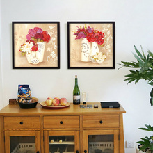 Modern Watercolor Flower Printed on Canvas Oil Painting Butterfly on Grass Wall Picture for Library Adorned Bedroom No Frame