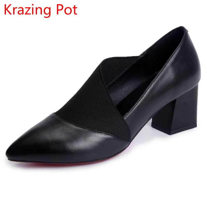 New Arrival Shallow Fashion Brand Shoes Genuine Leather Slip on Pointed Toe Casual Office Lady Thick High Heels Women Pumps L18 fashion brand slip on shallow round toe crystal bowtie med diamond thick heels women pumps sweet office lady runway shoes l15