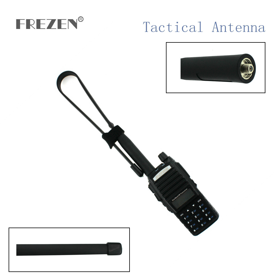 CS Tactical Antenna SMA-Female Dual Band VHF UHF 144/430Mhz Gain Foldable Ruler Antenna For Walkie Talkie Baofeng UV-5R UV-82
