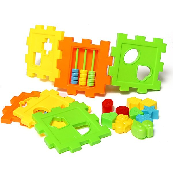 New Colorful Baby Block Toys Plastic Children S Educational Toy Box