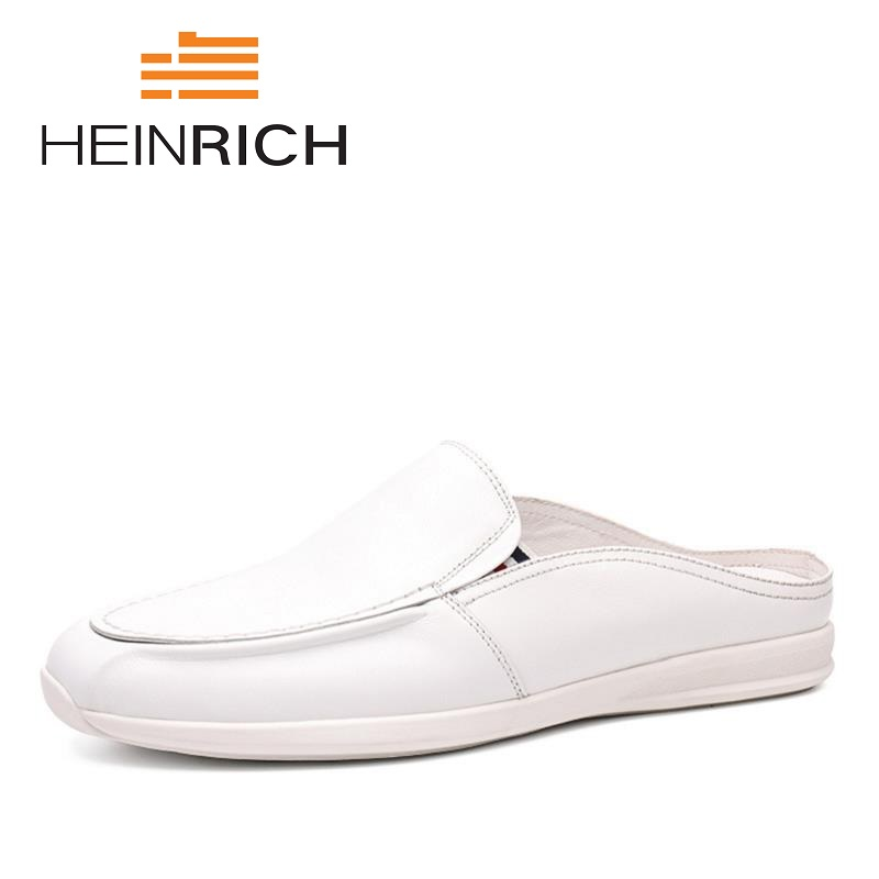 HEINRICH 2018 Men Loafers Brand Canvas Fashion Flats Shoes Man Genuine Leather Casual Men Slip On Shoes Sapato-Masculino фанкойл mdv mdkt3h 1600g100