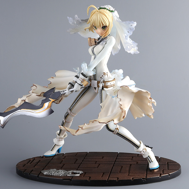 цена на 23cm Anime Fate/stay Night GSC EXTRA CCC White Dress Saber Bride Action Figure Model Collection Fate Night Girl Figure Doll new