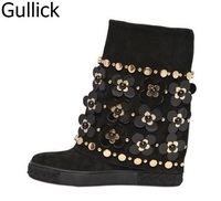 New Arrivals Winter Newest Bling Bling Crystal Flower Boots Black Suede Rivets Studded Height Increasing Short Women Boots