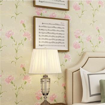 Warm elegant pasta large flower non woven bronzing wallpaper fresh flowers bedroom living room wallpaper