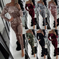 Ombro Off elegante Veludo Macacão Mulheres Macacão de Manga Longa Cordão Casuais Oco Calças Compridas Senhoras Macacões Macacão