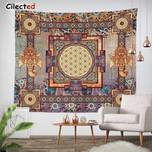 Image 1 - Cilected India Mandala Tapestry Gobelin Hanging Wall Floral Tapestry Fabric Polyester/Cotton Hippie Boho Bedspread Table Cloths