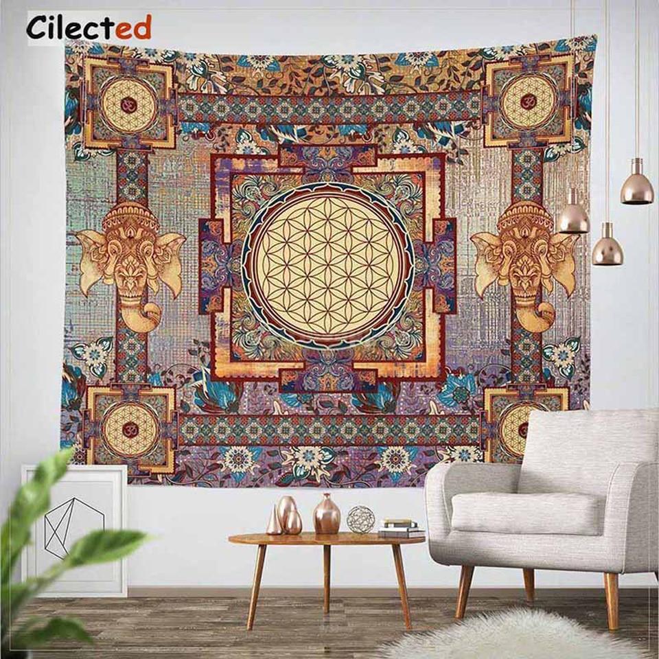Cilected Indien Mandala Wandteppich Gobelin Hängen Wand Floral Tapisserie Stoff Polyester/Baumwolle Hippie Boho Bettdecke Tischdecken