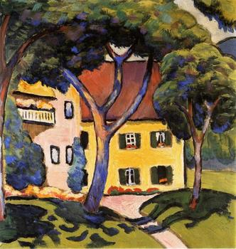 High quality Oil painting Canvas Reproductions House in a Landscape By August Macke hand painted
