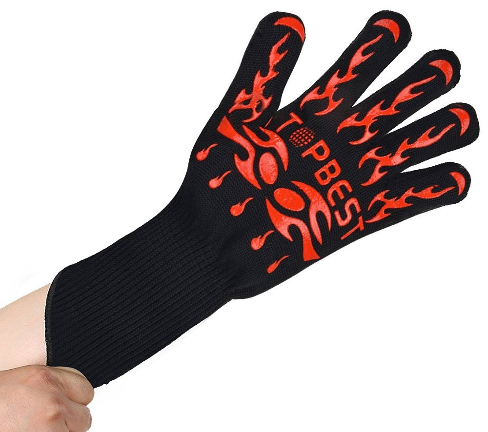 One Pair Red Silicone Heat Resistant BBQ Gloves ,Oven Mitts,Grill,Bake,Safety for Hands protect from Fire 1pair 932f new design bbq grill red silicone gloves heat resistant bbq gloves microwave oven glovesen 407