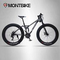 LAUXJACK Mountain Fat Bike Aluminum Full Suspention Frame 24 Speed Shimano Disc Brake 26 X4 0