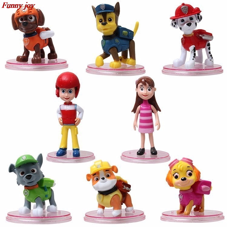 8pcs/set Canine Patrol Dog Toys Russian Anime Doll Action Figures Car Patrol Puppy Toy Patrulla Canina Juguetes Gift for Child new 3 5inch patrol dog anime toys action figure moviejuguetes brinquedos cute puppy patrol toys for child gift girls children